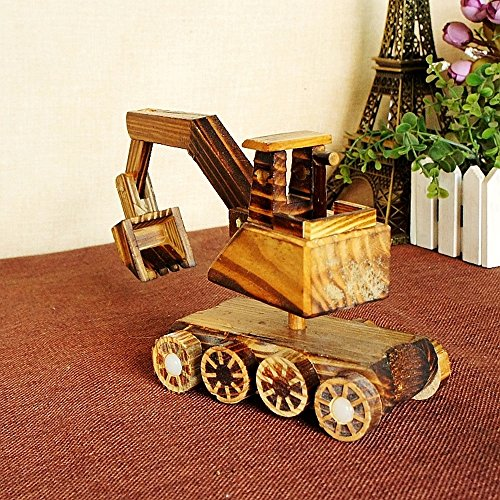 BWLZSP 1PCS New Products Pure Wood Excavator Wood Toy Tank Wheels Home Decorations Gift Ornaments Crafts Lovers Toy WL5300934 (Color : Excavator) by BWLZSP (Image #1)