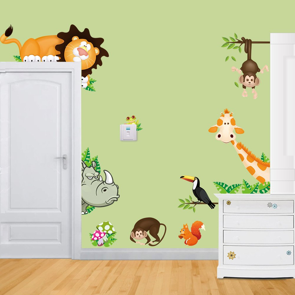 Amazon.com: RRRLJL Colorful Jungle Tree with Zoo Animals and Owls ...