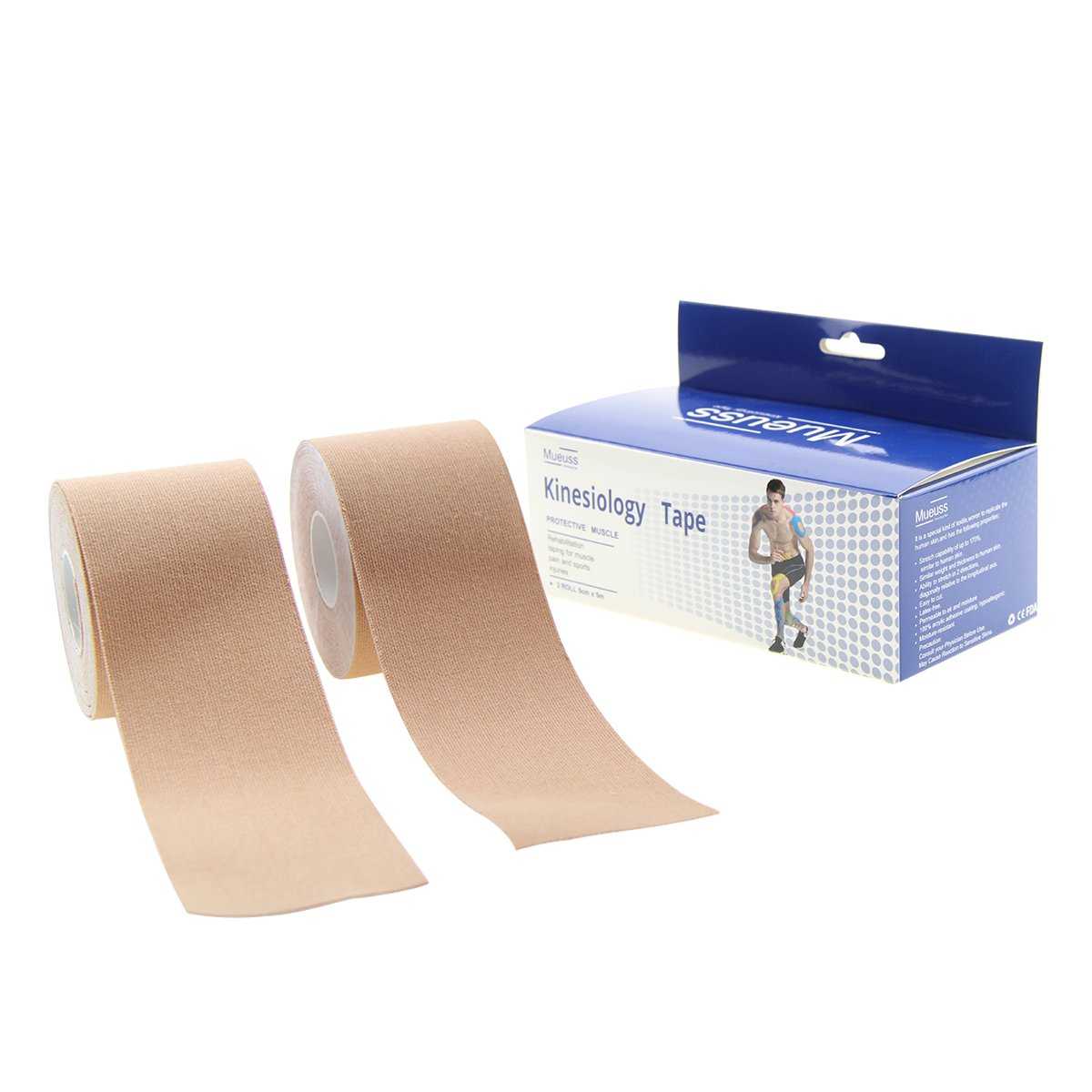 MUEUSS Kinesiology Tapes Uncut Waterproof Hypoallergenic Breathable Elastic Roll for Knee Ankle Muscles Elbow Shoulder Latex Free 16.5 ft (Beige (2 pc/Set))