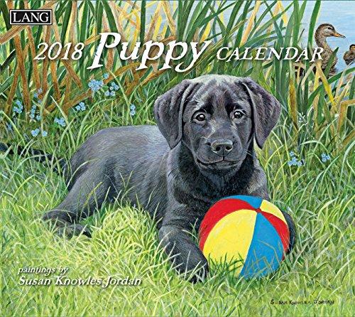 "LANG - 2018 Wall Calendar - ""Puppy"", Artwork by Susan Knowles Jordan - 12 Month - Open 13 3/8"" X 24"""