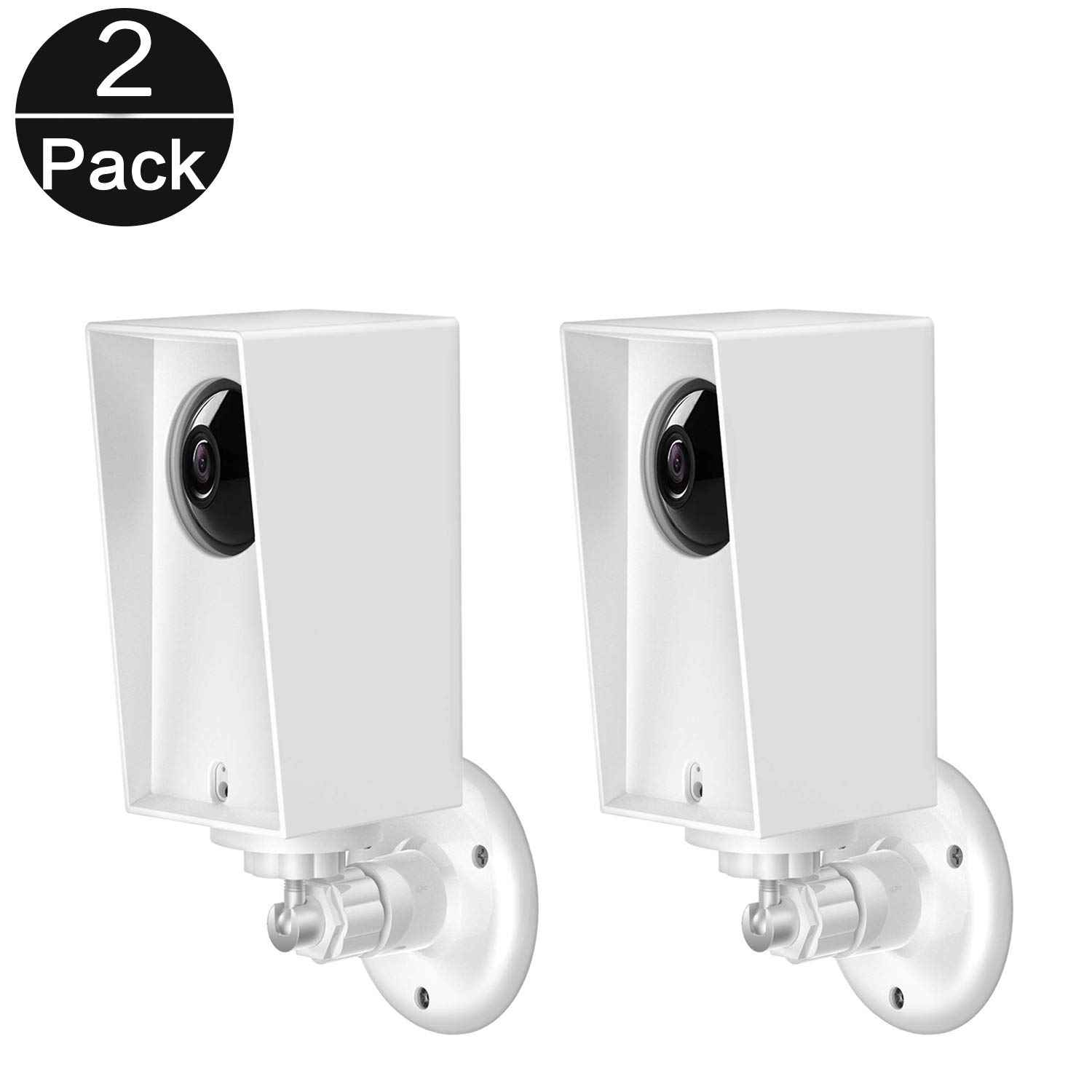 Wyze Cam Pan Wall Mount, Weather Proof Anti-Sun Glare and UV Protection Outdoor/Indoor Adjustable Bracket with Protective Skin Case for Wyze Cam Pan 1080p Security Camera (White(2pack)) by WE-Direct