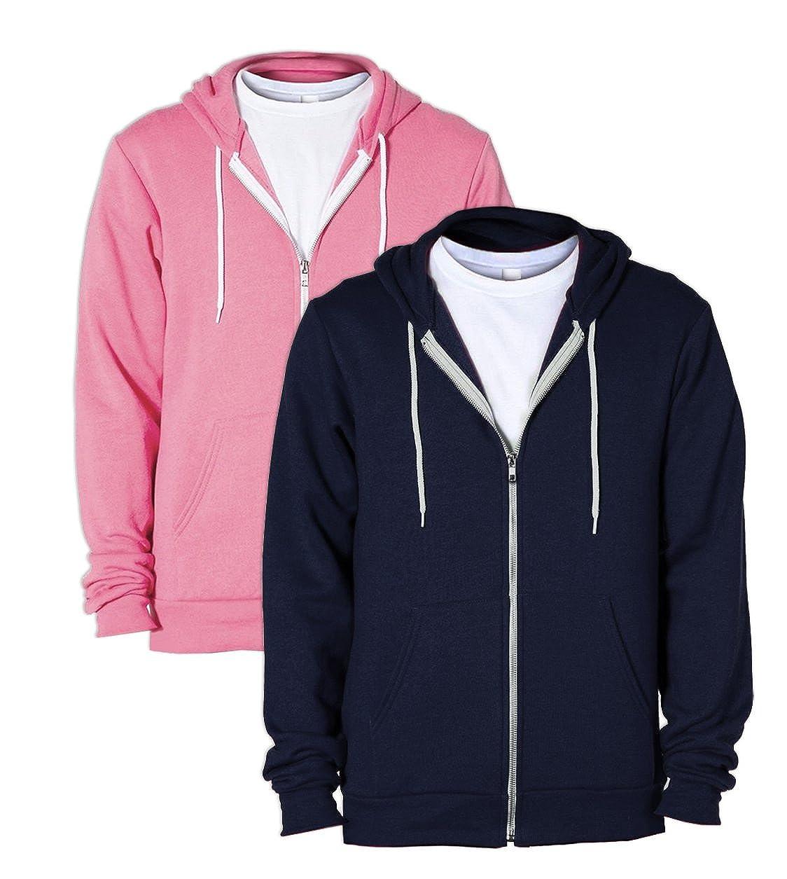 American Apparel F497 Flex Fleece Zip Hoodie XXL 1 Navy 1 Neon Heather Pink