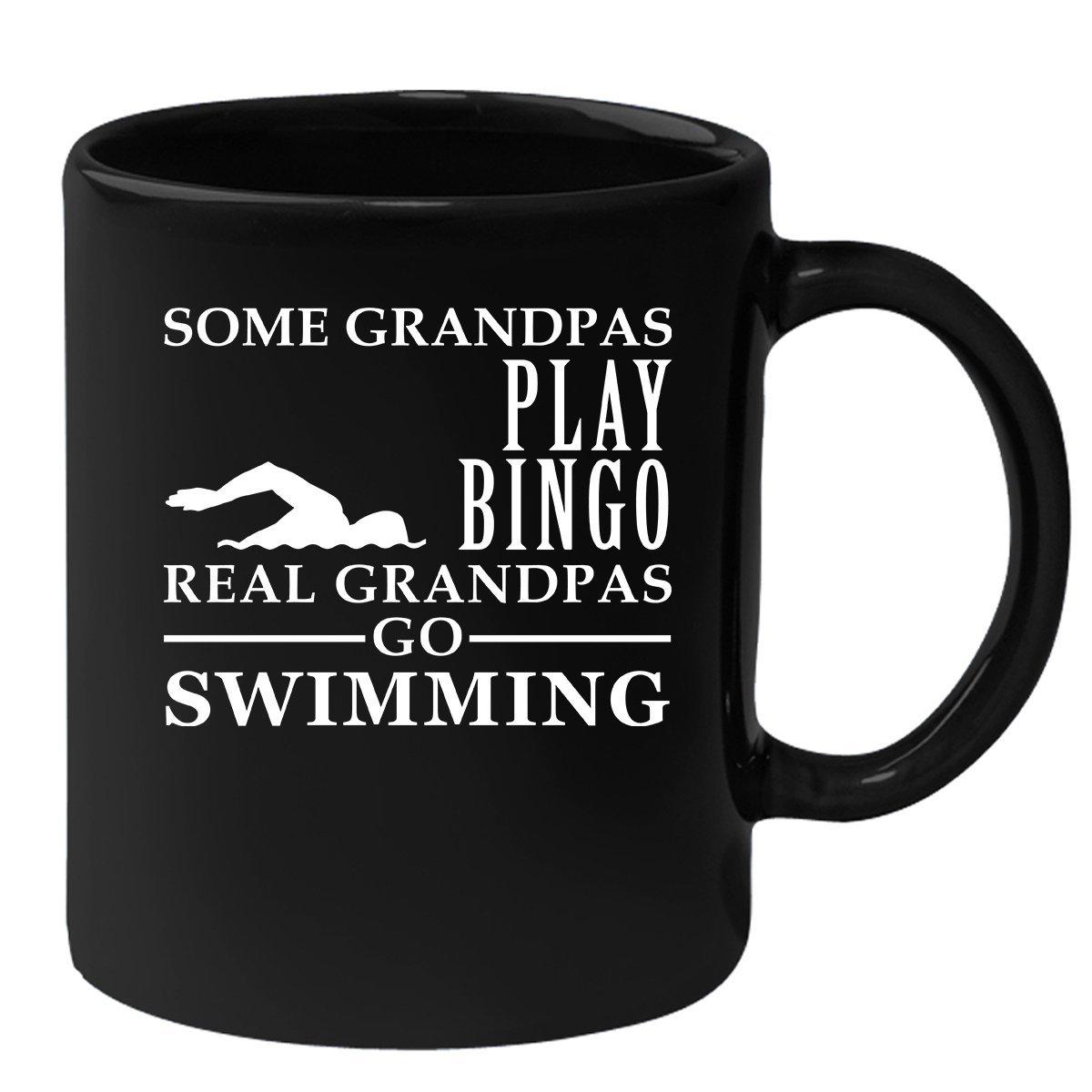 Coffee Mug for Grandpa Black 11oz Some Grandpas play bingo, real Grandpas go Swimming, Swimming Mug