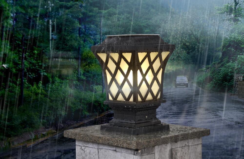 YZL/ Solar lights outdoor lights/bright/post lights/wall lights/garden lighting/lamps/Lighting Wall pillar lamp , black