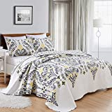Great Bay Home 3-Piece Printed Quilt Set with Shams. All-Season Cotton-Polyester Bedspread with Ornamental Geometric Pattern. Lauretta Collection By Brand. (King, Yellow)