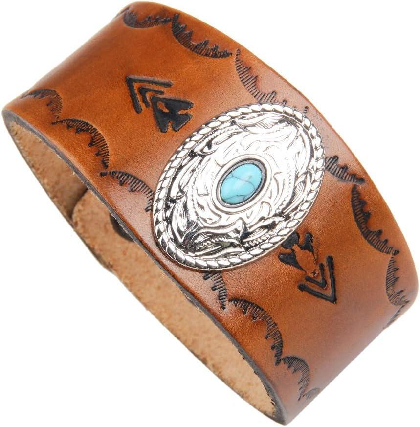 DENTRUN Retro/Turquoise/Genuine Leather Bracelet,Adjustable Men Cuff Bracelets,/Rock Punk Wide Belt Vintage Wristband Jewelry,Gift Ideas for Brother,Dad,Husband,Boy,Girl,Kids
