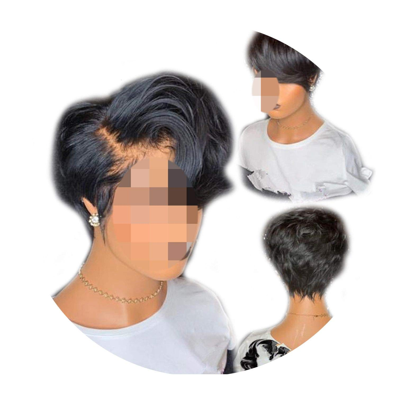 130% Short Lace Front Wigs Wavy Remy Hair Wigs Glueless Lace Front Human Hair Wigs Pre Plucked,Natural Color,6inches
