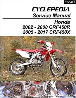 2005 2006 2007 2008 2009 honda crf450x service shop repair manual.