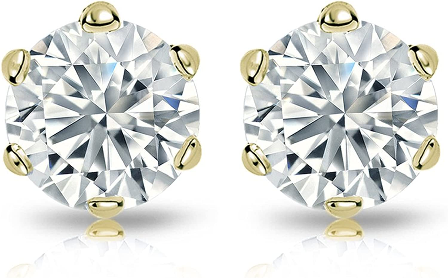1//4-2cttw,Excellent Quality 14k Gold Mens Round Diamond Simulant CZ Stud Earrings 6-Prong