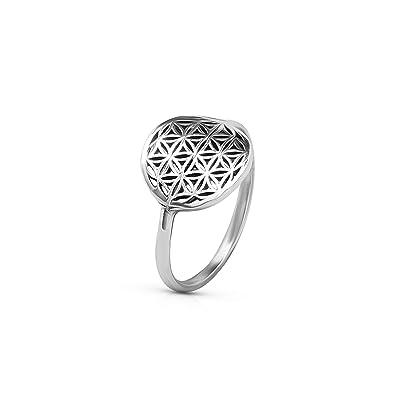 Amazon.com: Anillo de plata de ley 925, diseño de flor de la ...