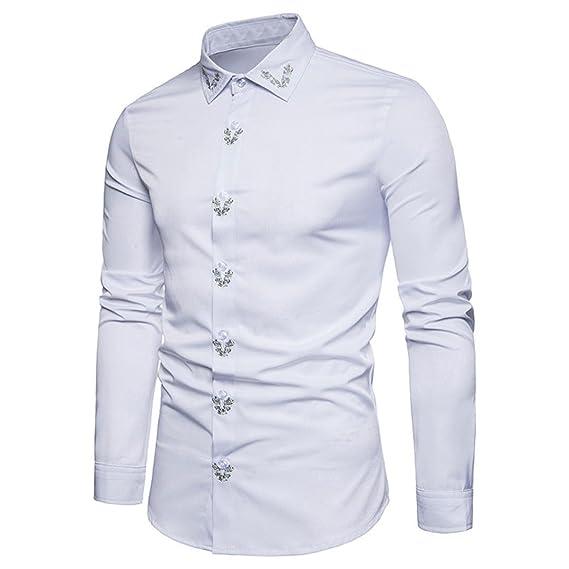 Resplend Camisa de Manga Larga con Cuello en V para Hombre de Hipster Fit Embroidery Tops Blusa: Amazon.es: Ropa y accesorios