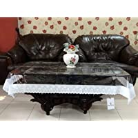Kuber Industries Transparent 3D Design Center Table Cover 4 Seater 40 * 60 Inches (Silver Lace)