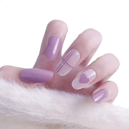 Juego de 24 piezas de decoración de uñas postizas adhesivas de cabeza larga y redonda,