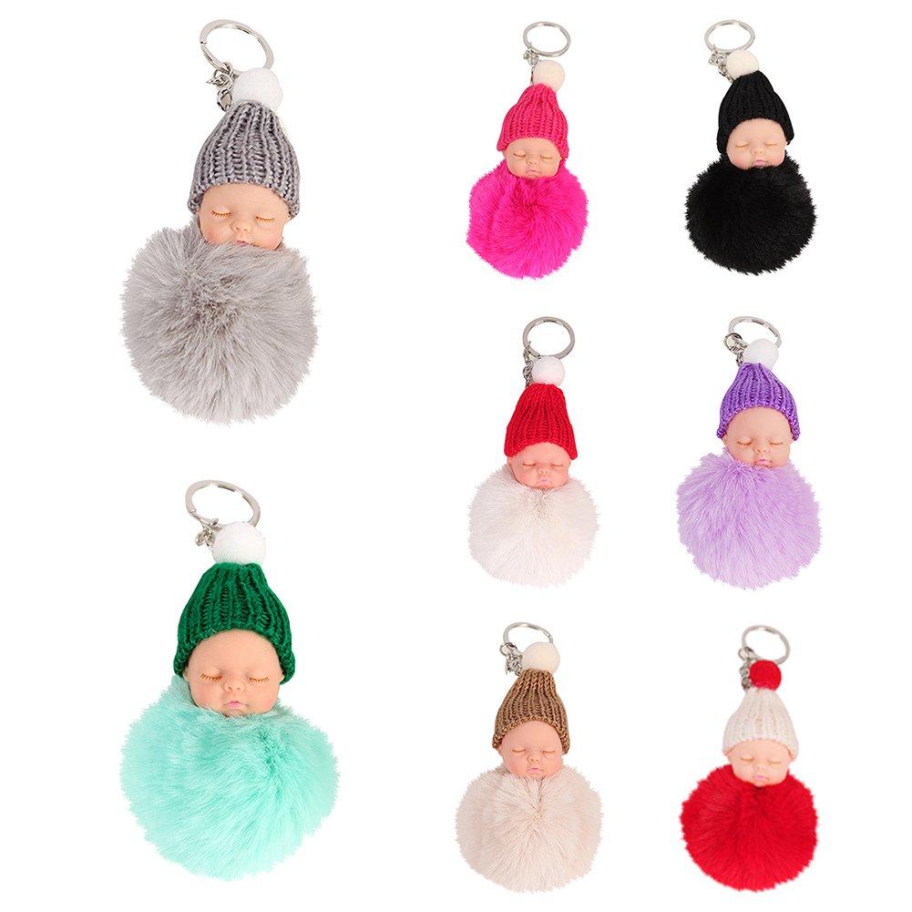 GUANGS Plush Faux Fur Ball Pom Pom Cute Sleeping Baby Handbag Charm Car Keychain Beige