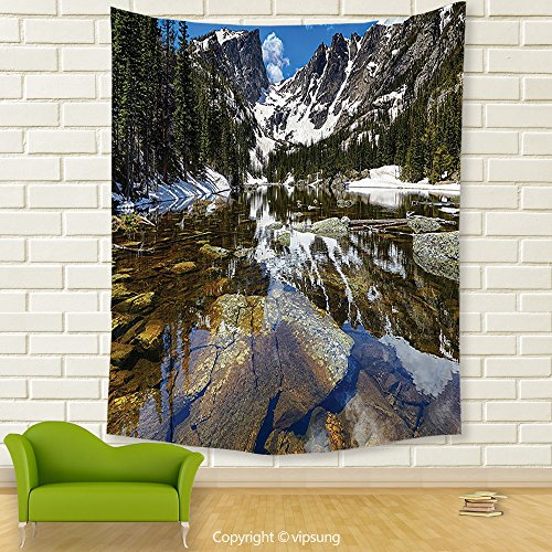 Vipsung House Decor Tapestry_Lake House Decor Collection Dream Mirroring Lake At The Mountain Park In West America River Snow Away Photo Green Brow_Wall Hanging For Bedroom Living Room Dorm