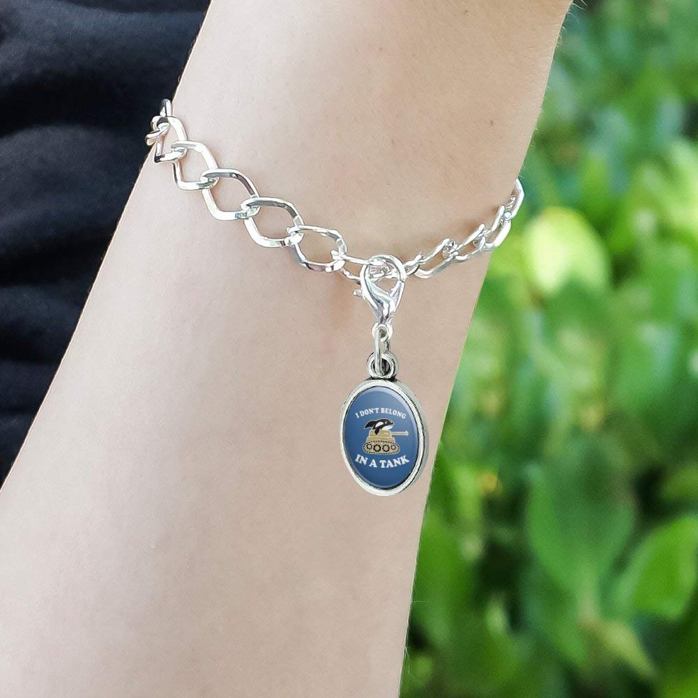 GRAPHICS /& MORE I Dont Belong in a Tank Orca Whale Funny Humor Antiqued Bracelet Pendant Zipper Pull Oval Charm with Lobster Clasp