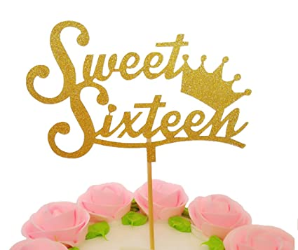 EL Crown Sweet Sixteen Cupcake Topper Set Of 12 Golden Glitter Toppers For