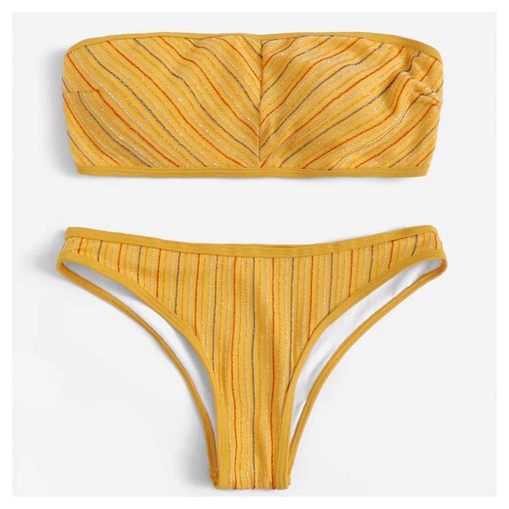 jaune Medium BEN-YI Bikini - Maillots de Bain pour Femmes Sexy Tube Top Bikini Bikini Split Couleur Unie - Bikini 6492 (Couleur   jaune, Taille   M)