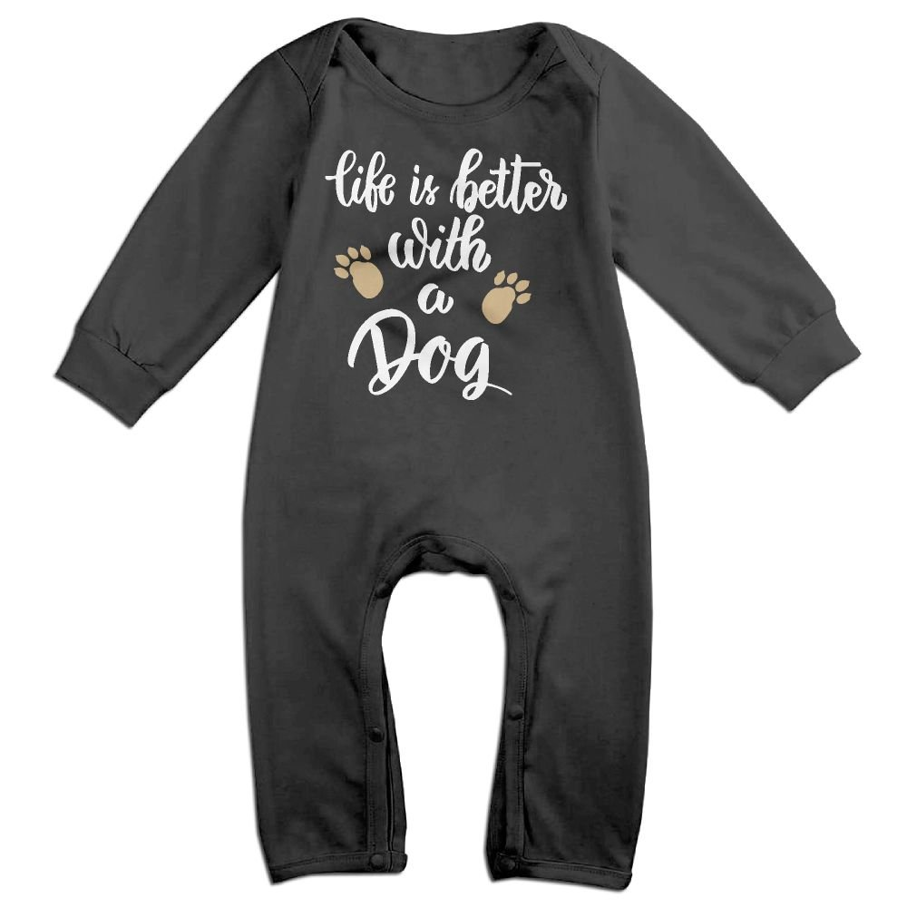Mrei-leo Newborn Kids Coverall Life Is Better With A Dog-1 Baby Rompers