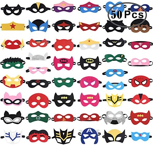 61WXIhffKyL. AC  - RoterSee 50Pcs Superhero Masks Party Favors for