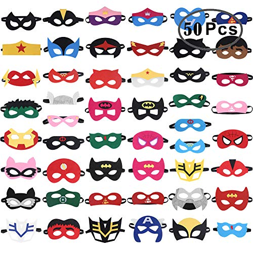 RoterSee 50Pcs Superhero Masks Party Favors for Birthday Party with 50 Different Types]()