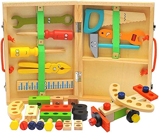 Caja de Herramientas de Madera, Juego de Herramientas de Construcción de Bricolaje, Kits de Mantenimiento de Simulación, Juguetes de Educación Temprana para Ensamblar y Desmontar: Amazon.es: Hogar