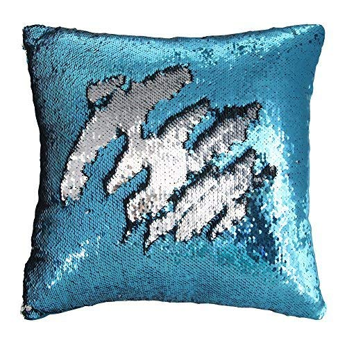 "Play Tailor Mermaid Sequin Pillow Case Flip Sequin Pillow Cover Reversible Sequins Throw Cushion Cover 16""x16"" (Silver and Blue)"