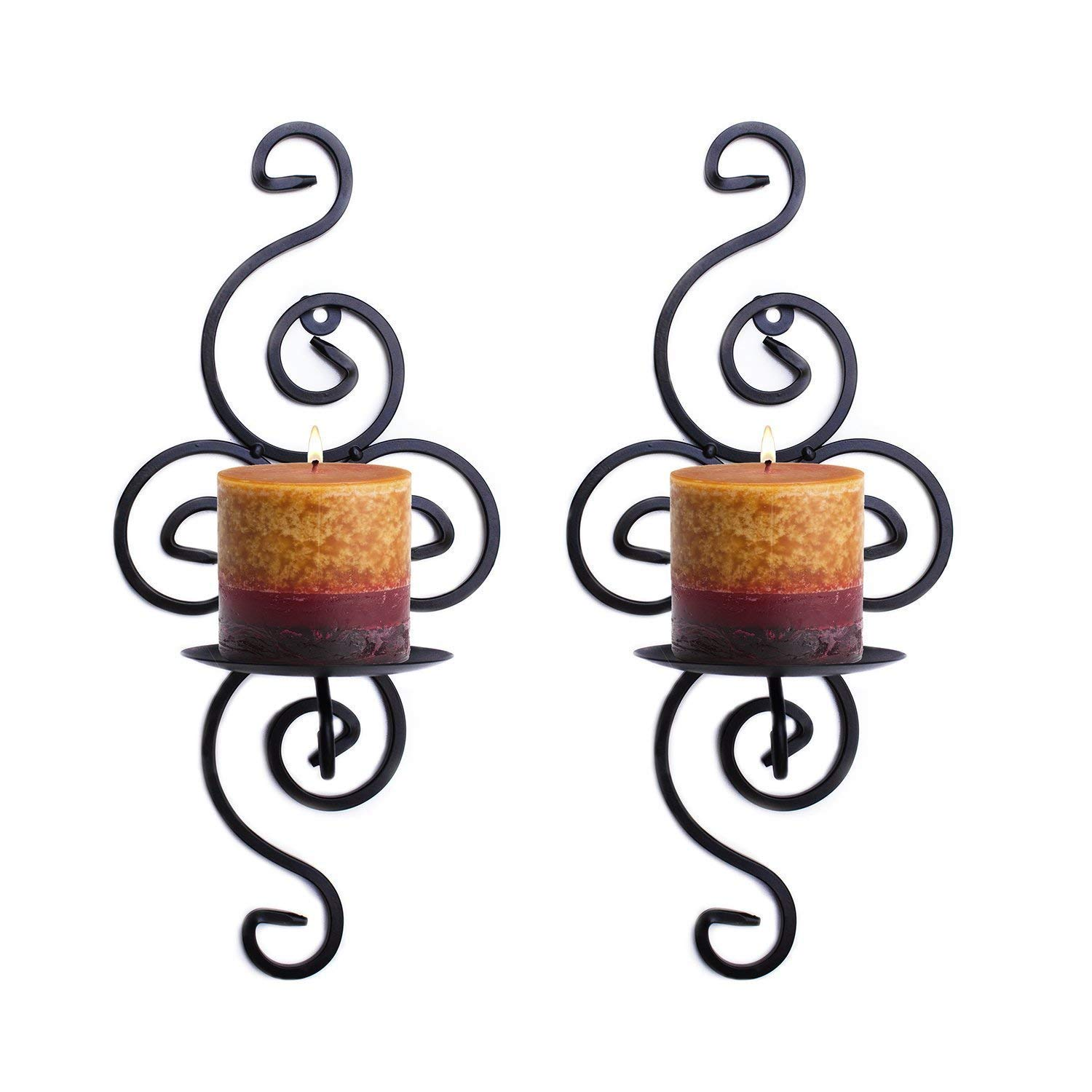 Pasutewel Wall Candle Sconces,Set of 2 Metal Rustic Swirling Hanging Wall Candle Holders Decor for Living Room Home Decorations,Weddings,Events (Black)