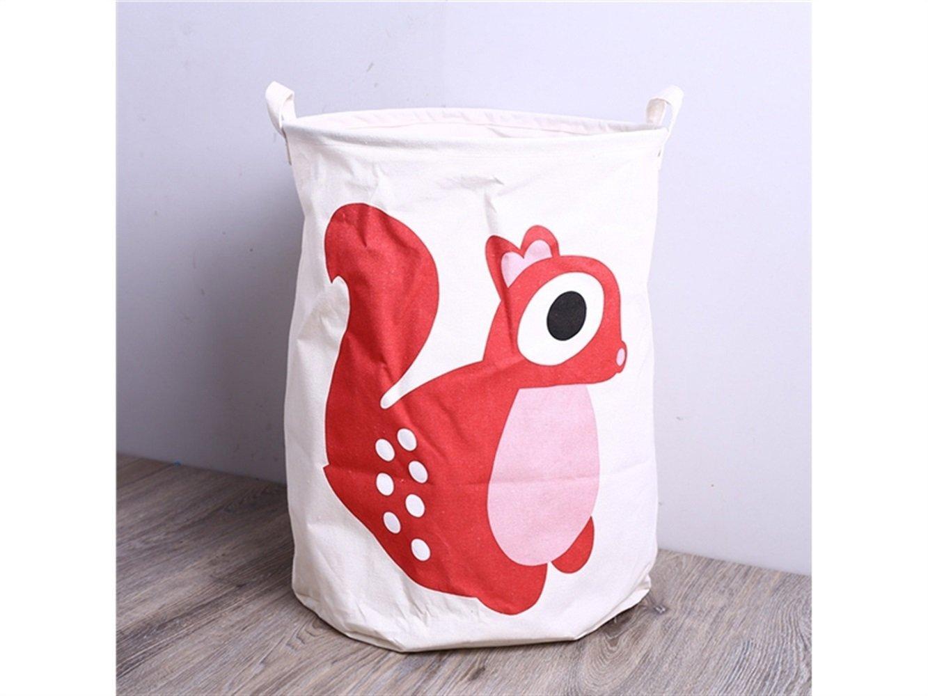 Gelaiken Lightweight Squirrel Pattern Storage Bucket Cotton and Linen Bucket Bucket Sundries Storage Laundry Bucket(White)