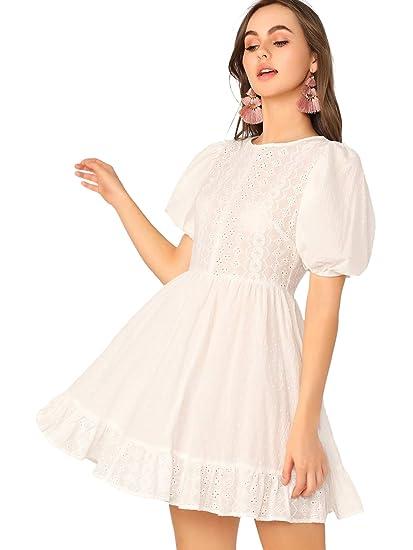 c7a54b055725 Romwe Women's Elegant Ruffle Trim Eyelet Embroidered V Neck Wrap Short Dress  at Amazon Women's Clothing store:
