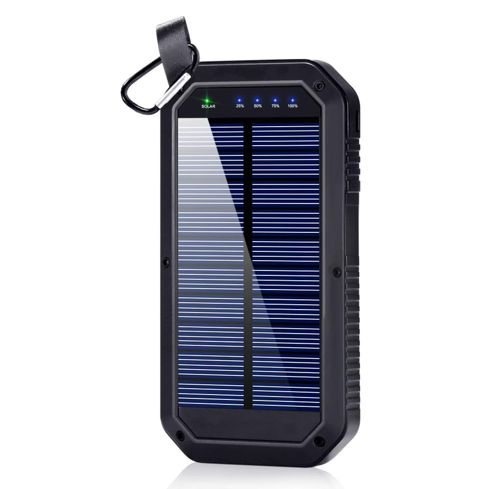Solar Charger, Dostyle 8000mAh Portable Solar Power Bank External Backup Battery Pack 3 USB Ports Solar Phone Charger with 21 LED Light Compatible for All Cellphone Samsung Galaxy & Android Devices by dostyle
