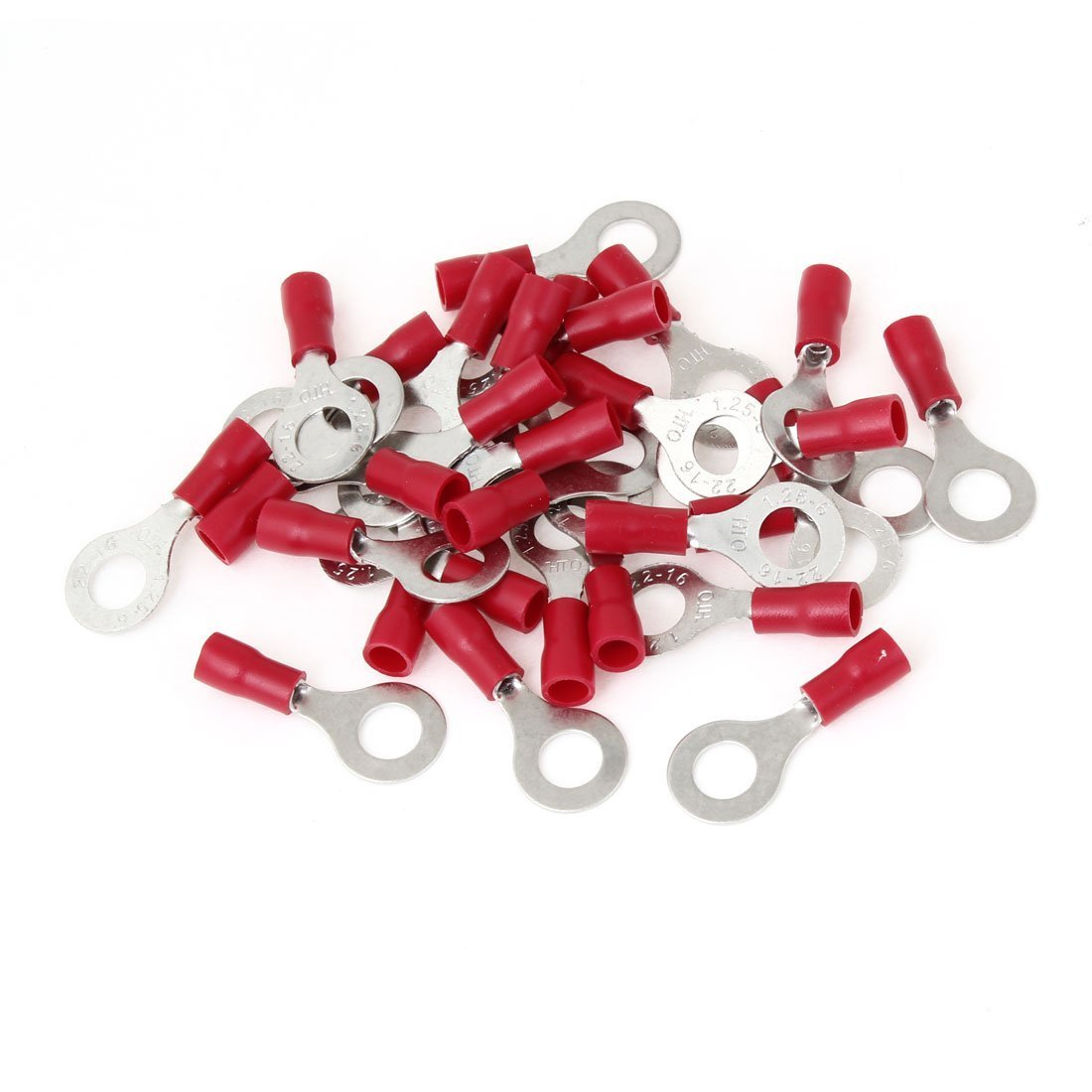 RV1.25-6 Red PVC Sleeve Insulated Ring Tongue Terminals 30 Pcs a13051500ux0669