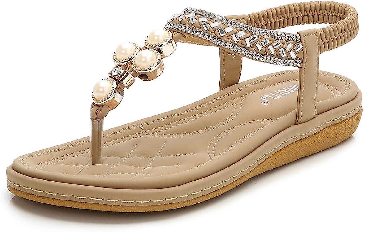 ea35ba4952270 ... Bride Arrière Sandals Claquettes Semelle Compensées 2019. OverDose  Sandales Sandales Femmes Plates,Chaussures Été Strass Bohème Chaussures  Tongs à ...