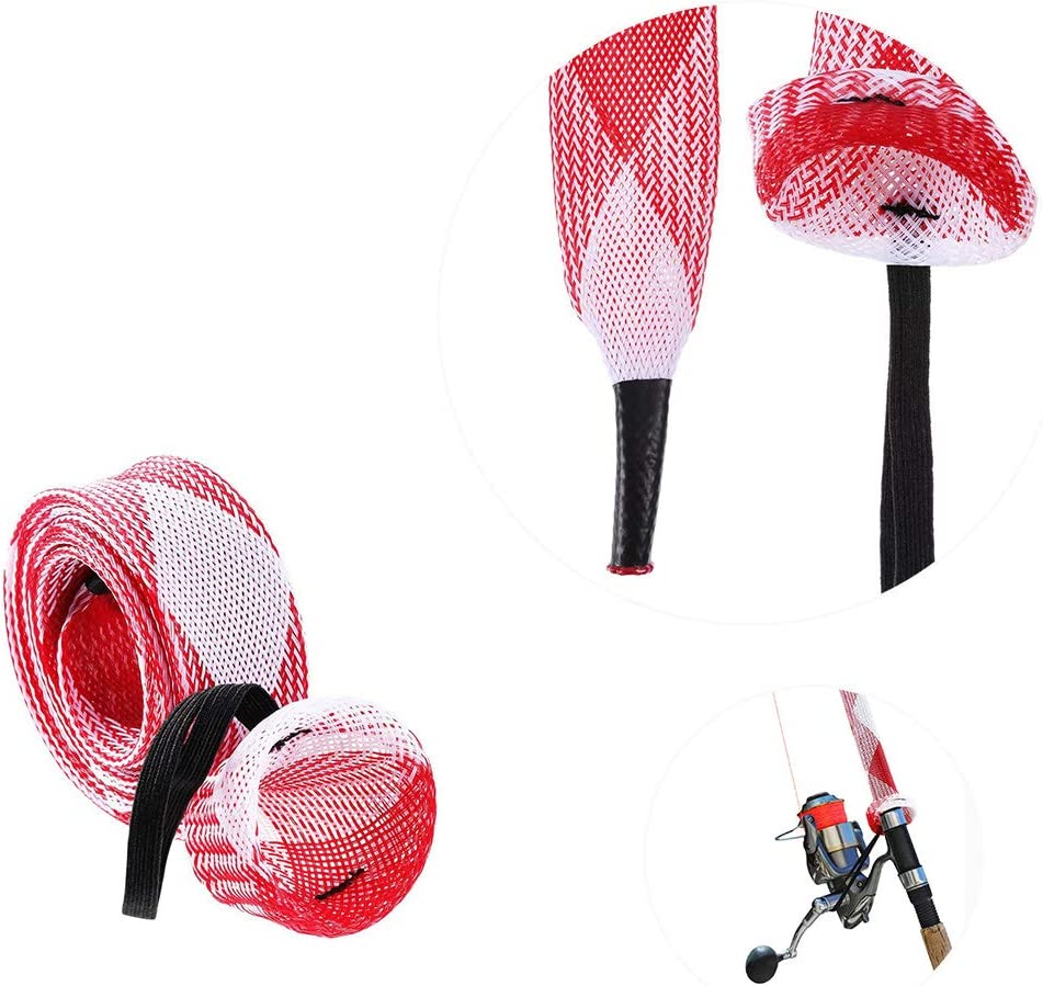 Casting Sea Fishing Rod Xushop 6 PCS Rod Sock Fishing Rod Sleeve Rod Cover Braided Mesh Rod Protector Pole Gloves Fishing Tools for Spinning