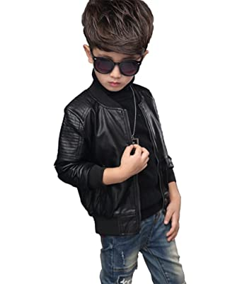 Youngsoul Childrens Boys Motorcycle Leather Pu Jacket Teenage Kids