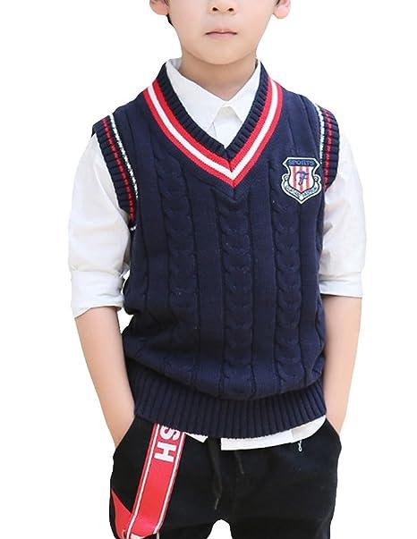 Mfrannie Boys V Neck Stripe Cable Knit Sweater School Uniform Vest