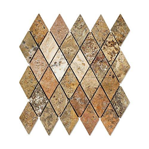 - Scabos Travertine 2 X 4 Diamond (Rhomboid) Mosaic Tile, Tumbled