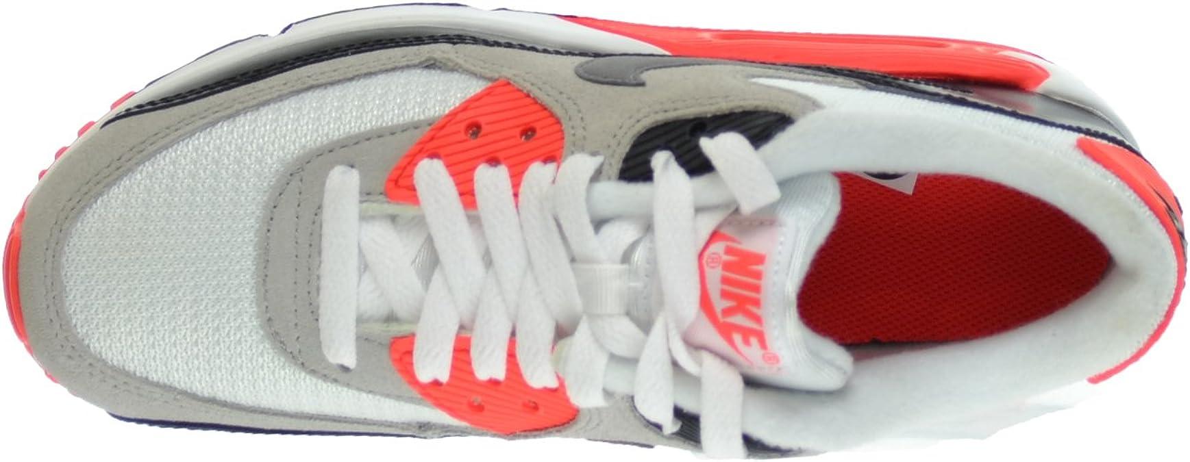 Nike Air Max 90 Premium Mesh (GS) Big Kids Shoes WhiteCool Grey Natural Grey Black 724882 100