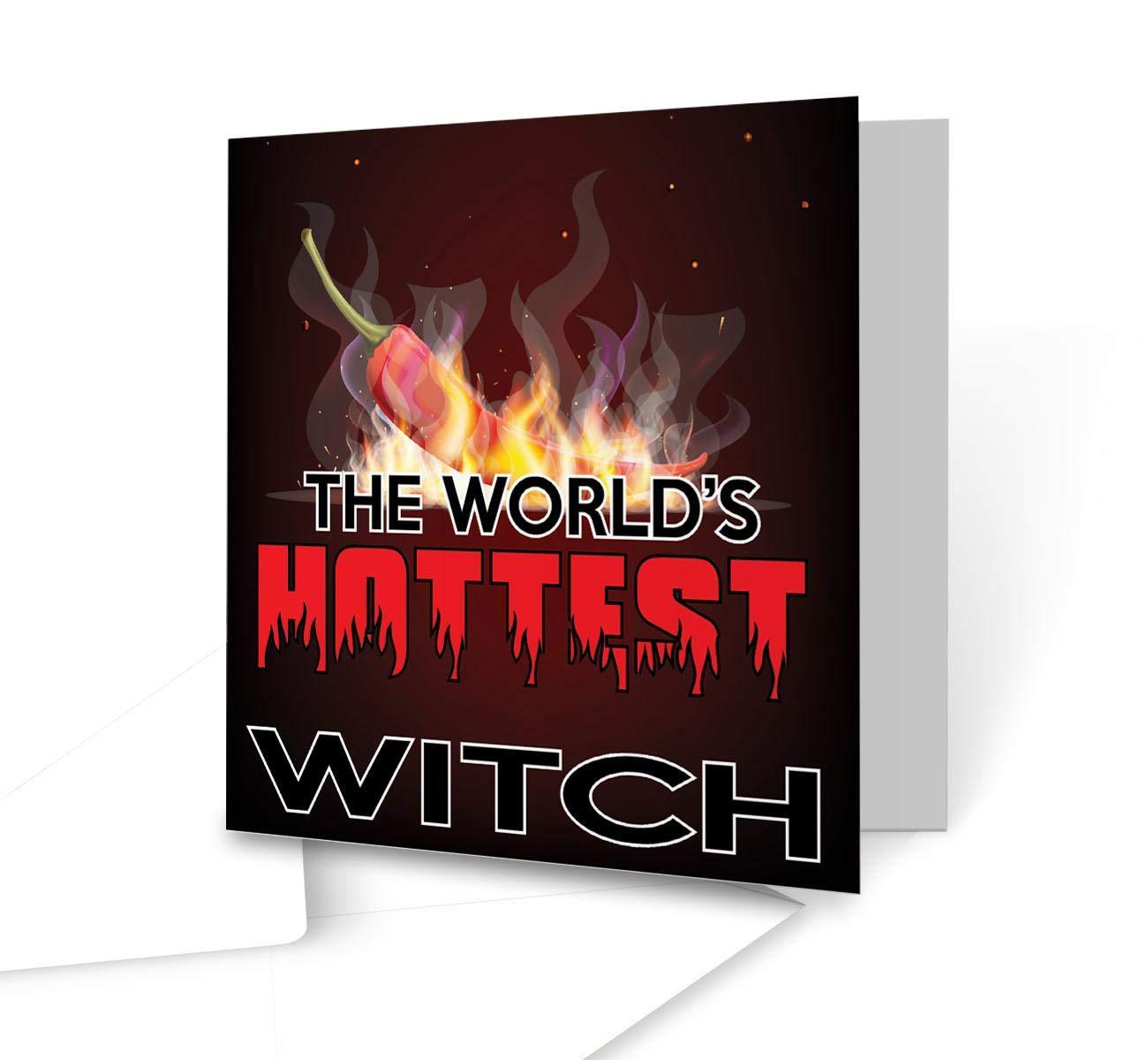 El mundo más calientes de bruja - cuadrado tarjeta de ...
