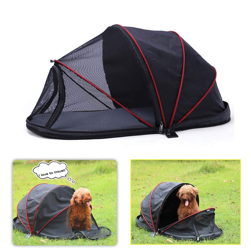 Pineker Outdoor Kennel, Small Dog Tent, Portable Folding Kennel Small Dog Cage,Simple Pet Cage (Windshield Style (Half mesh Cloth))