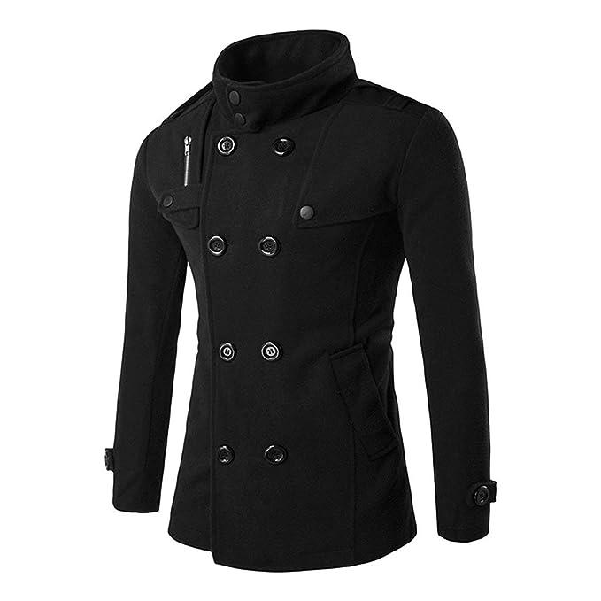 Zacard Otoño Invierno Cremallera cruzada Diseño Abrigos de tela de lana Cuello alto Chaquetas de abrigo Ropa de moda masculina - Negro XL: Amazon.es: Ropa y ...