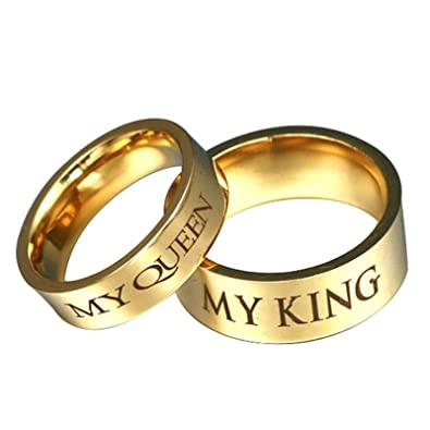 AnazoZ Anillo Acero Inoxidable Mujer My Queen My King ...