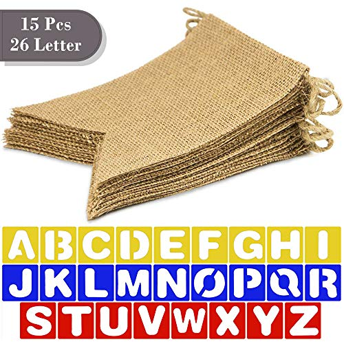 """SSZY Burlap Banner, 15 Pcs 75"""" DIY Blank Burlap Banners on 13 FT Rope, 4"""" Letter Stencils, DIY Banners Decoration for Home, Wedding, Birthday"""