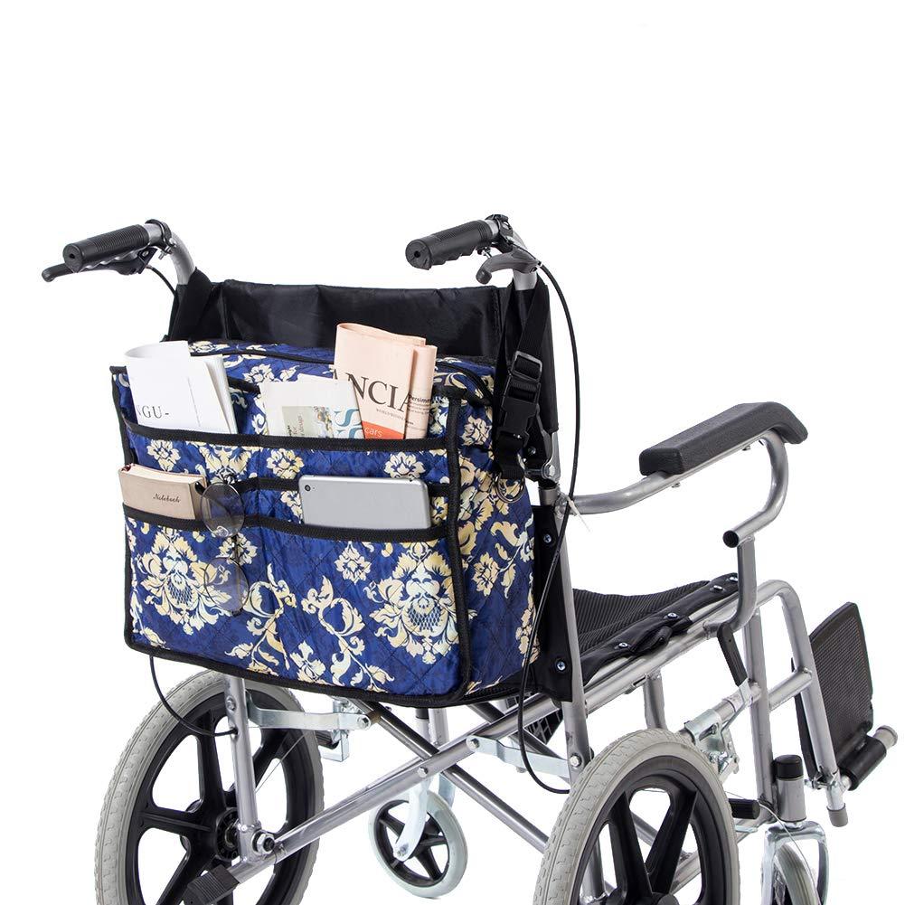 QEES GJB130 - Bolsa de asiento para silla de ruedas con 7 compartimentos, funda universal para scooter, funda de almacenamiento duradera con ruedas y ...