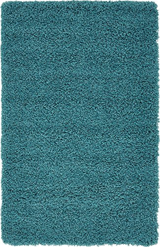 Unique Loom Solo Solid Shag Collection Modern Plush Deep Aqua Blue Area Rug (3' 3 x 5' 3)
