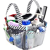 Mesh Shower Caddy Tote, Portable College Dorm Bathroom Tote with Key Hook and 2 Oxford Handles, 8 Basket Pockets, Quick Hold for Camp Gym