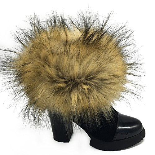 Faux Fur Cuffs Arm Leg Warmers - HOMEYEAH Furry Wrist Cuff Warmer For Women Party Costumes -