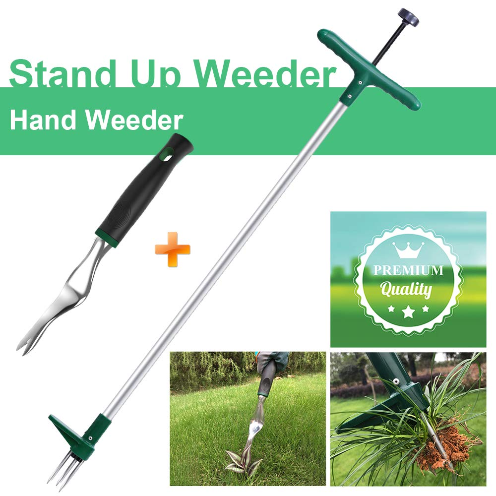 Walensee Stand Up Weeder and Weed Puller, Stand up Manual Weeder Hand Tool with 3 Claws, Stainless Steel and High Strength Foot Pedal, Weed Puller (Combo Pack - Stand Up Weeder & Hand Weeder) by Walensee