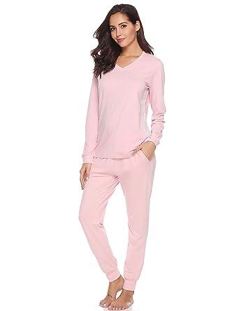 Hawiton Damen Schlafanzug Lang Baumwolle Nachtw/äsche mit Hosen Hausanzug Sleepwear mit Kn/öpfeleiste