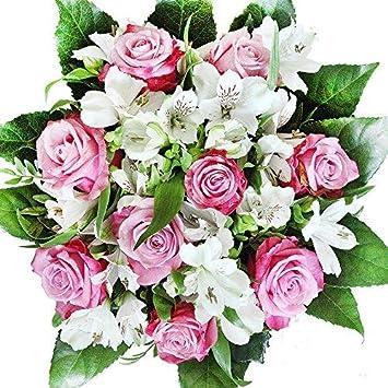 Lila Weißer Rosenstrauß Mit Alstromerien Blumenstrauß überraschung Zum Geburtstag